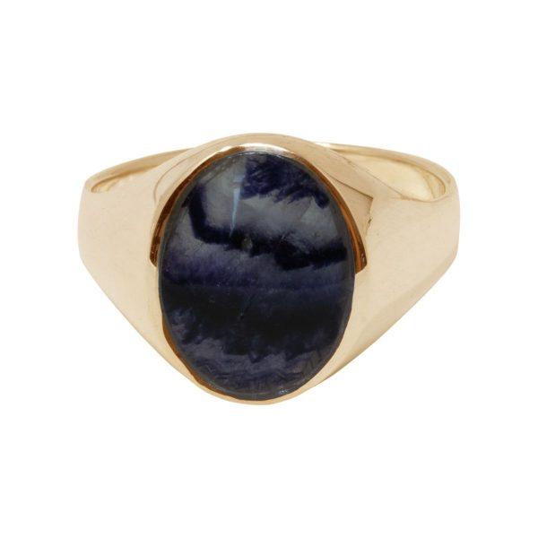 Yellow Gold Blue John Oval Signet Ring