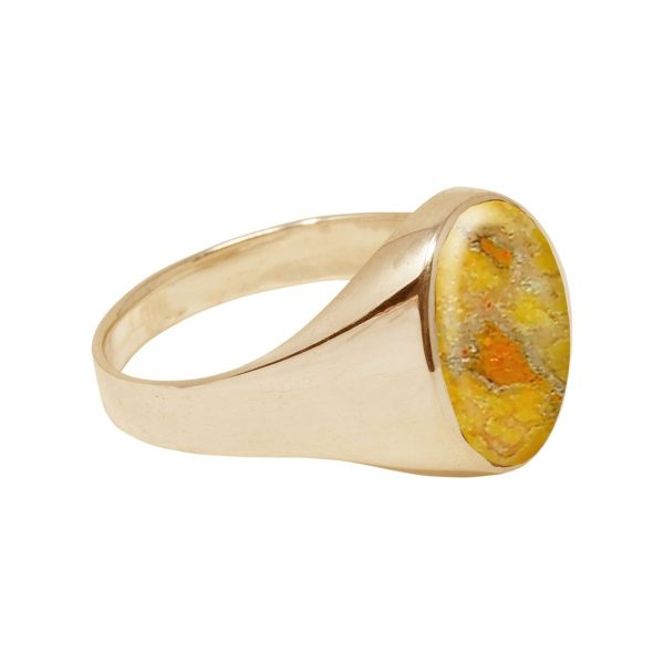 Yellow Gold Bumblebee Jasper Oval Signet Ring