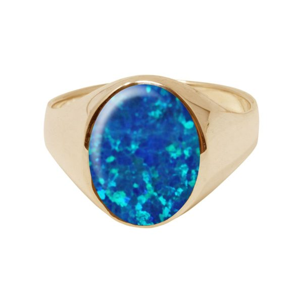 Yellow Gold Opalite Cobalt Blue Oval Signet Ring