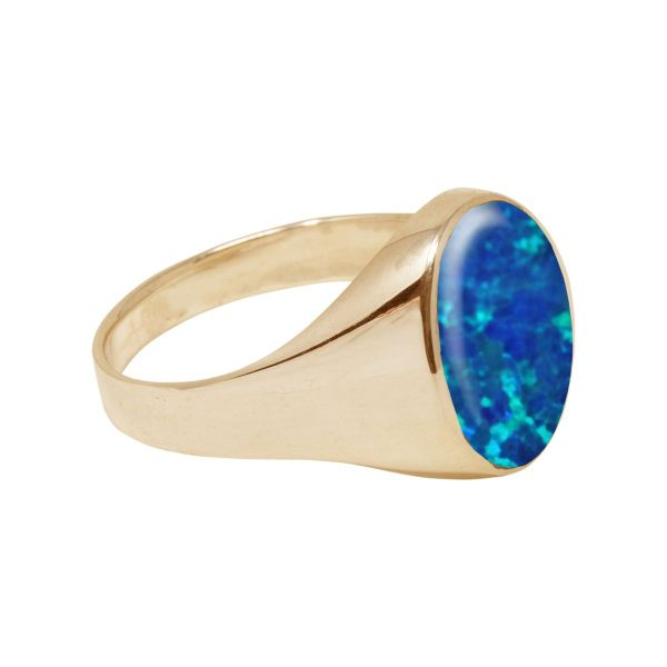 Yellow Gold Cobalt Blue Oval Signet Ring