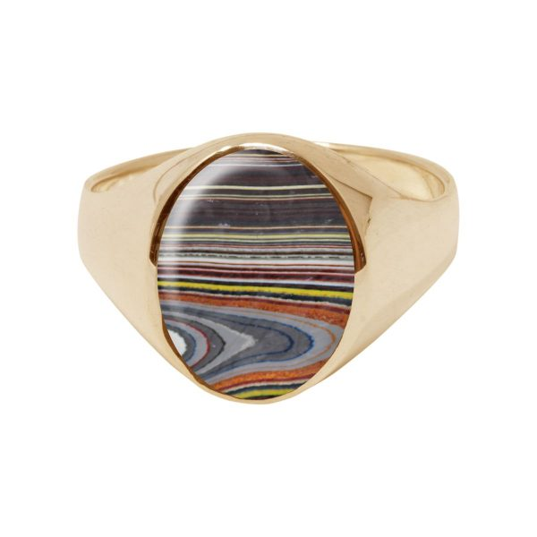 Yellow Gold Fordite Oval Signet Ring