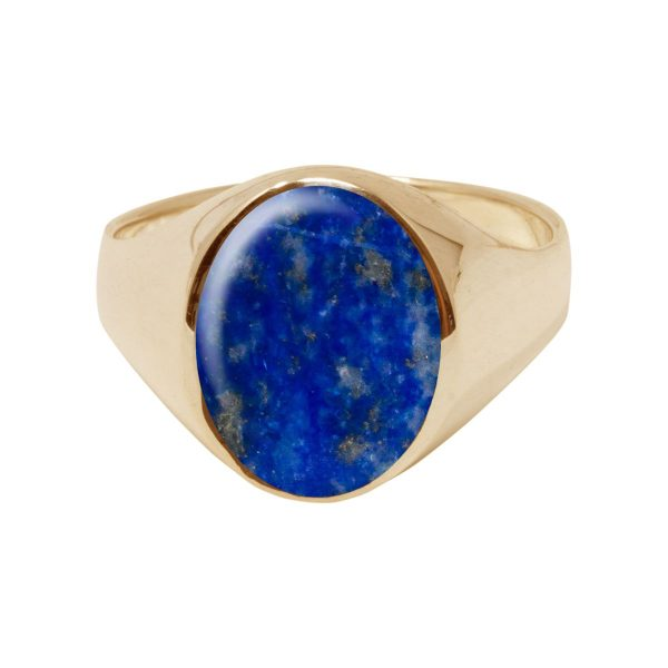 Yellow Gold Lapis Oval Signet Ring
