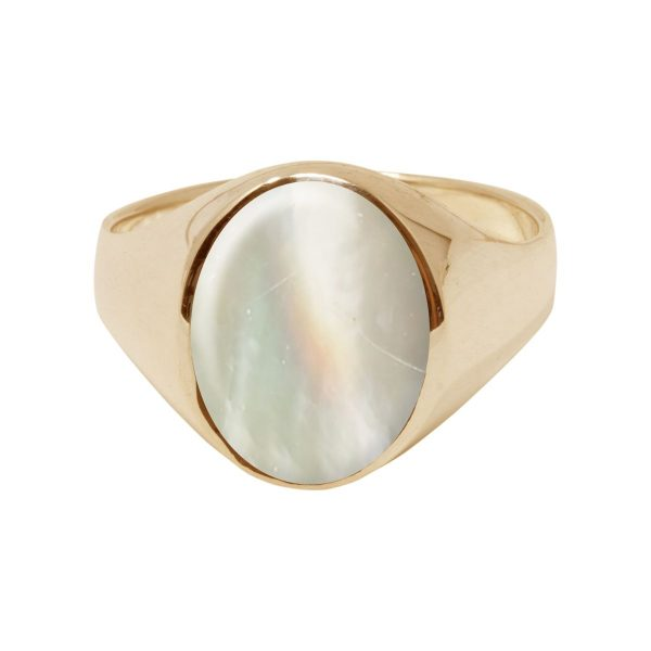 Yellow Mother of Pearl Oval Signet Ring