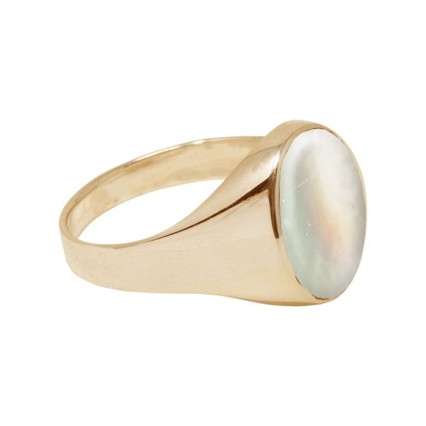 Yellow Gold Mother of Pearl Oval Signet Ring