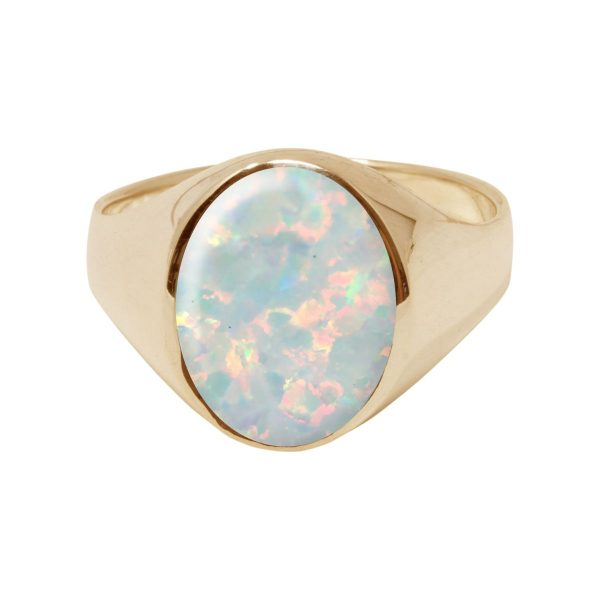 Yellow Gold Opalite Sun Ice Oval Signet Ring