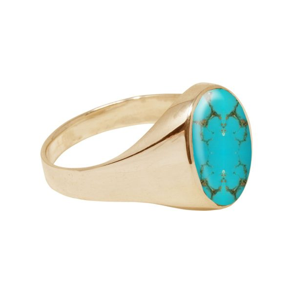 Yellow Gold Turquoise Oval Signet Ring