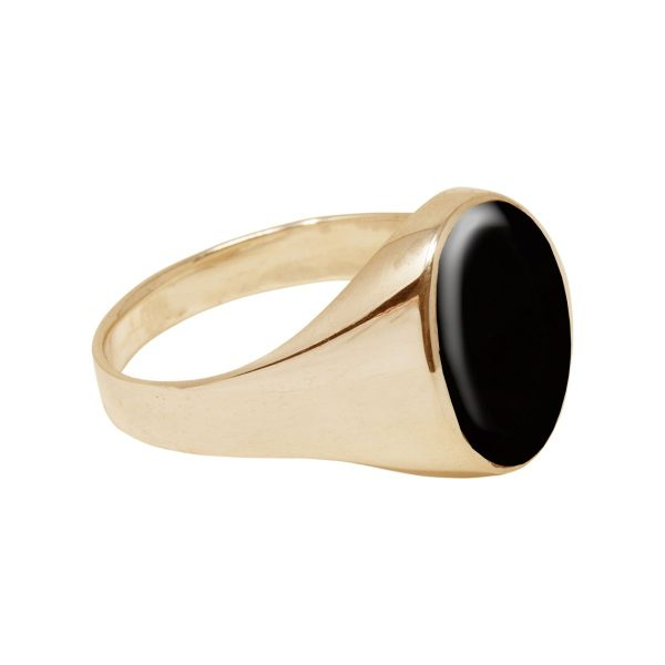 Yellow Gold Whitby Jet Oval Signet Ring