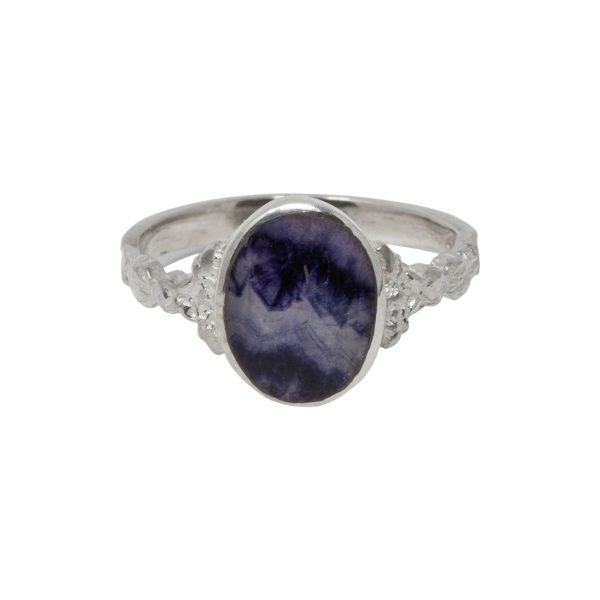 Silver Blue John Oval Stone Ring