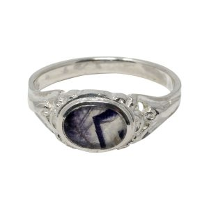 Silver Oval Blue John Stone Ornate Style Ring