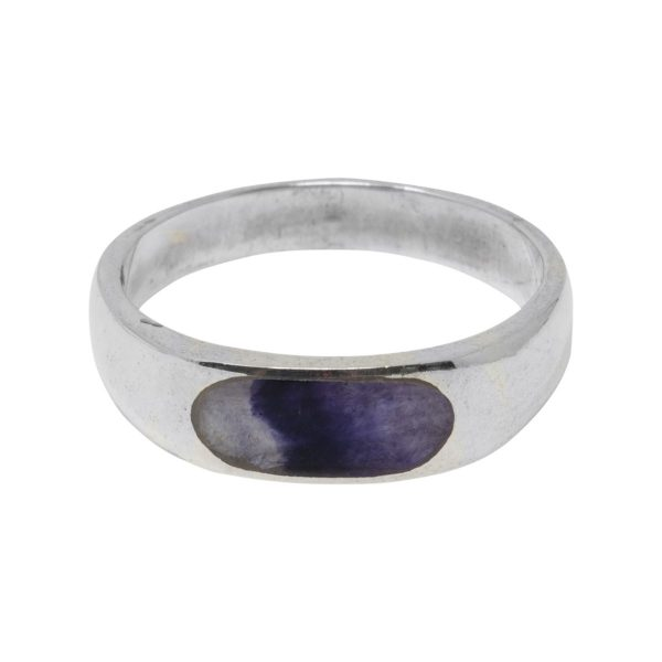 Silver Oval Blue John Stone Band Ring
