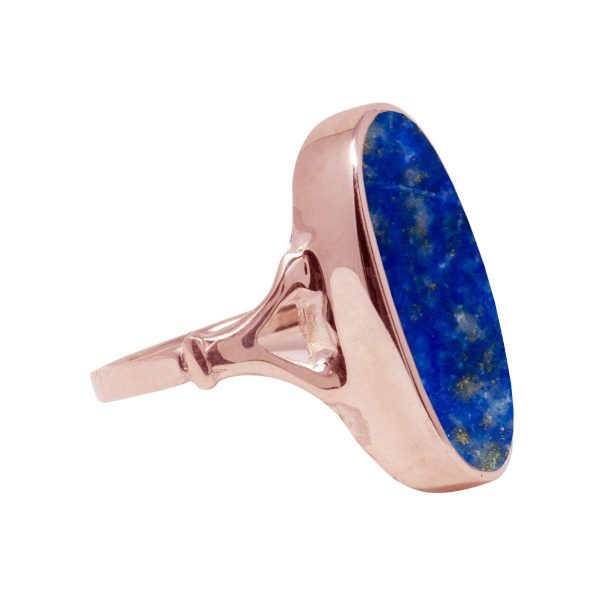 Rose Gold Lapis Oval Ring