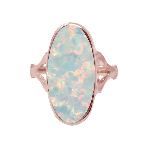 Rose Gold Opalite Sun Ice Oval Ring