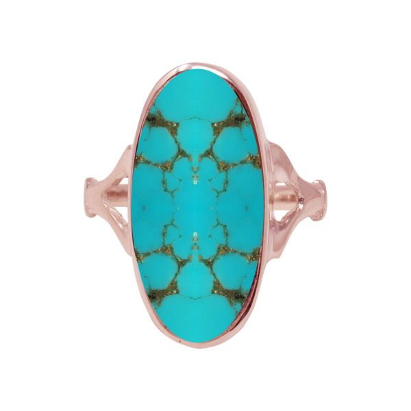 Rose Gold Turquoise Oval Ring