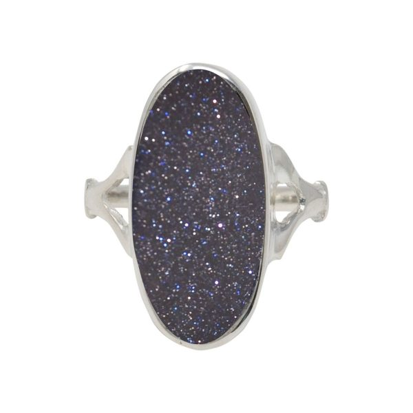 Silver Blue Goldstone Oval Ring