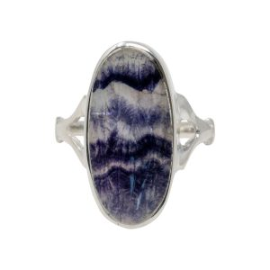 Silver Blue John Long Oval Stone Ring