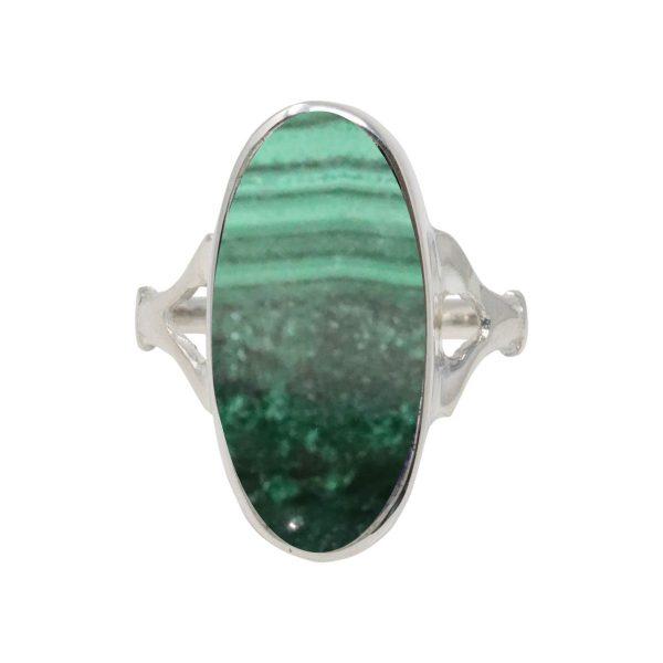 Silver Malachite Oval Ring