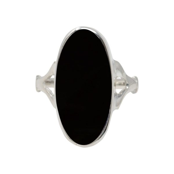 Silver Whitby Jet Oval Ring