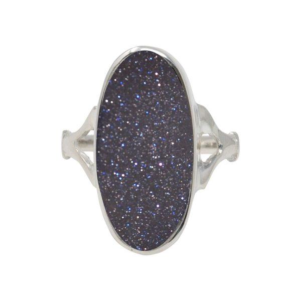 White Gold Blue Goldstone Oval Ring