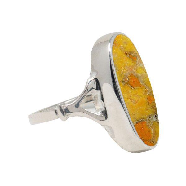 White Gold Bumblebee Jasper Oval Ring