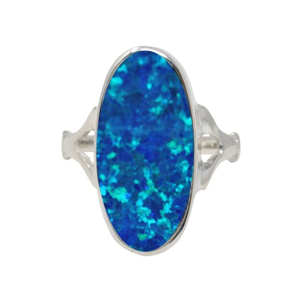 White Gold Opalite Cobalt Blue Oval Ring