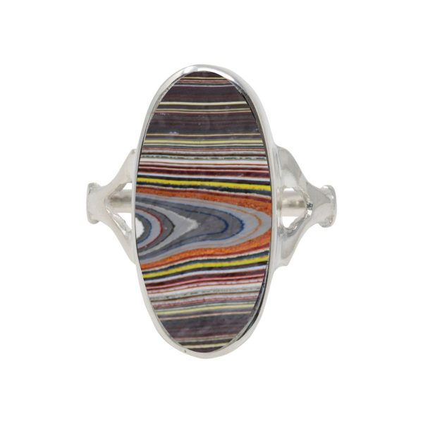 White Gold Fordite Oval Ring