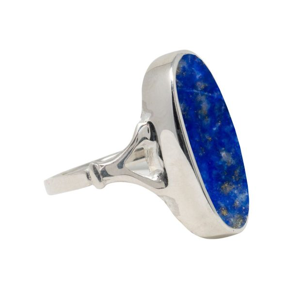 White Gold Lapis Oval Ring