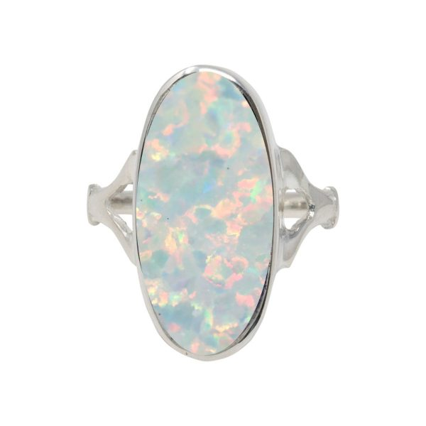 White Gold Opalite Sun Ice Oval Ring