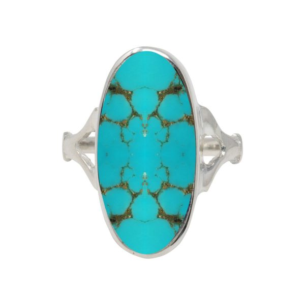 White Gold Turquoise Oval Ring