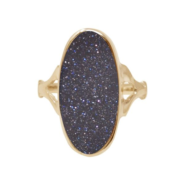 Yellow Gold Blue Goldstone Oval Ring