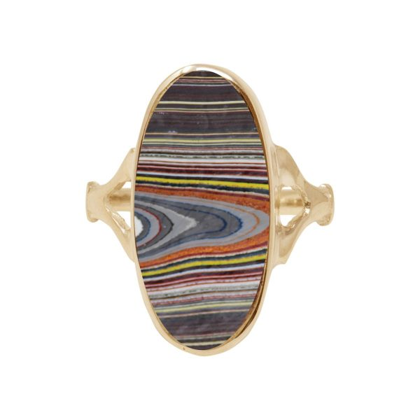 Yellow Gold Fordite Oval Ring