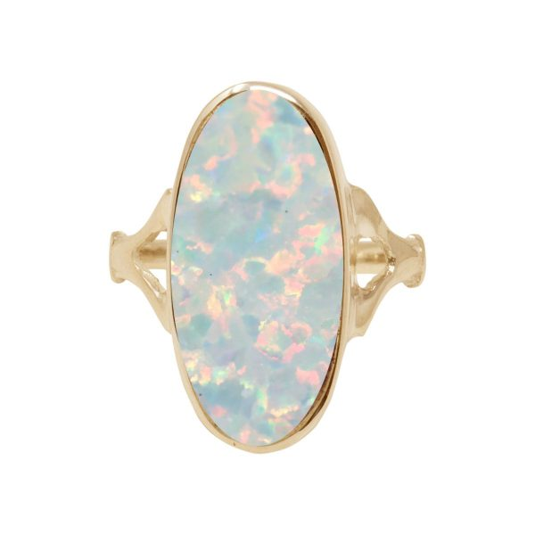 Yellow Gold Opalite Sun Ice Oval Ring