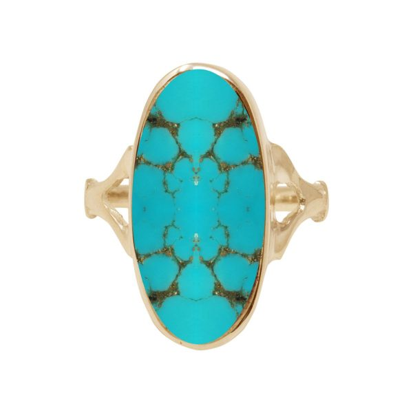 Yellow Gold Turquoise Oval Ring