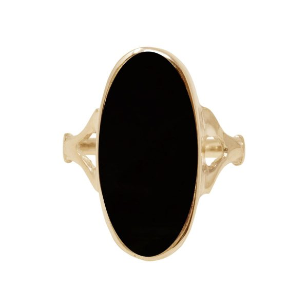 Yellow Gold Whitby Jet Oval Ring