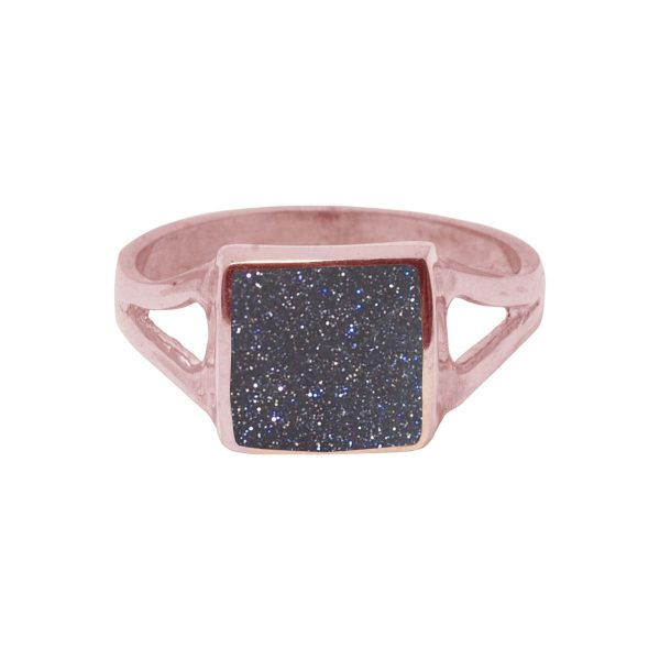 Rose Gold Blue Goldstone Square Ring
