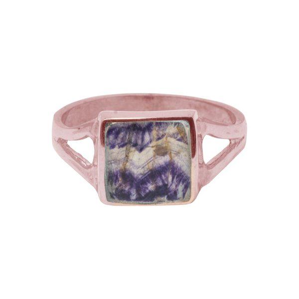 Rose Gold Blue John Square Ring