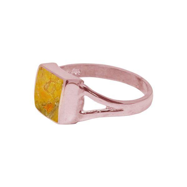 Rose Gold Bumblebee Jasper Square Ring