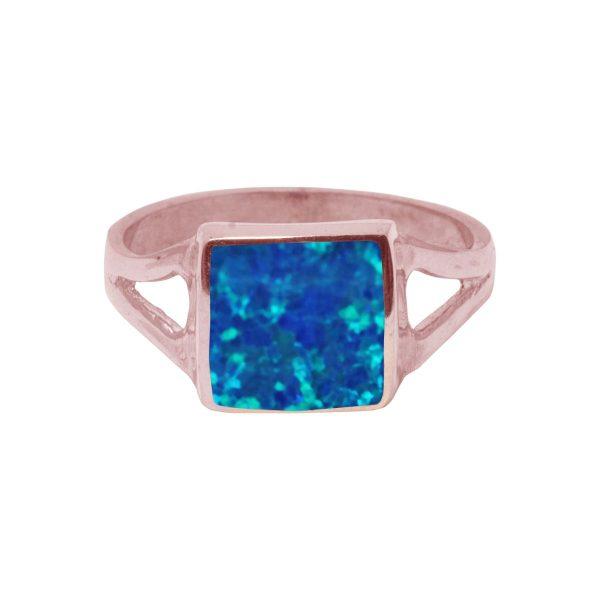 Rose Gold Opalite Cobalt Blue Square Ring
