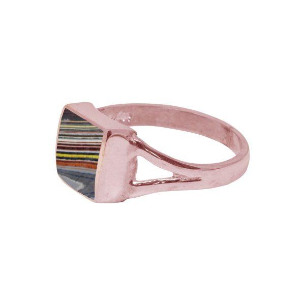 Rose Gold Fordite Square Ring