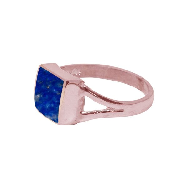 Rose Gold Lapis Square Ring