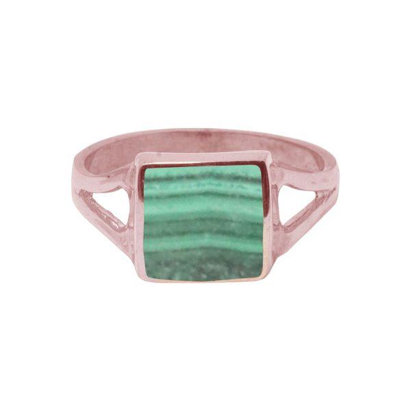 Rose Gold Malachite Square Ring