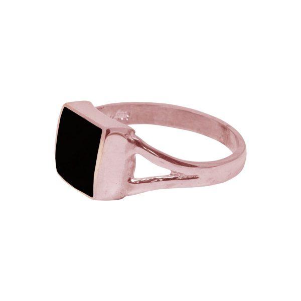 Rose Gold Whitby Jet Square Ring
