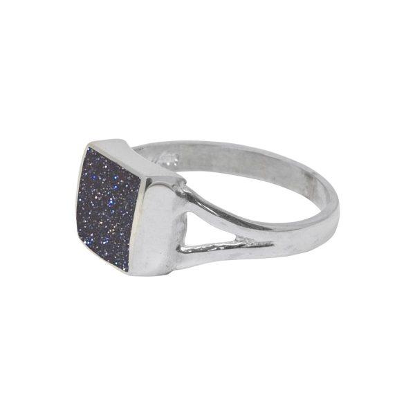 Silver Blue Goldstone Square Ring