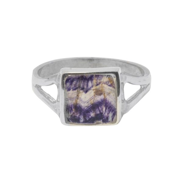 Silver Square Blue John Stone Ring
