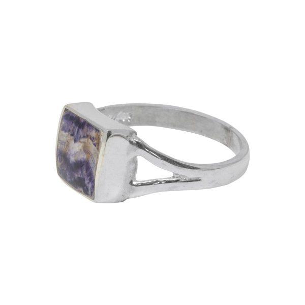 Silver Blue John Square Ring