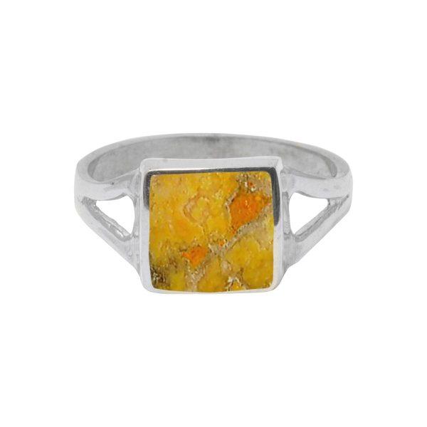 Silver Bumblebee Jasper Square Ring