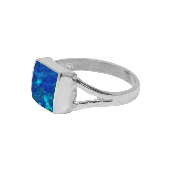 Silver Opalite Cobalt Blue Square Ring