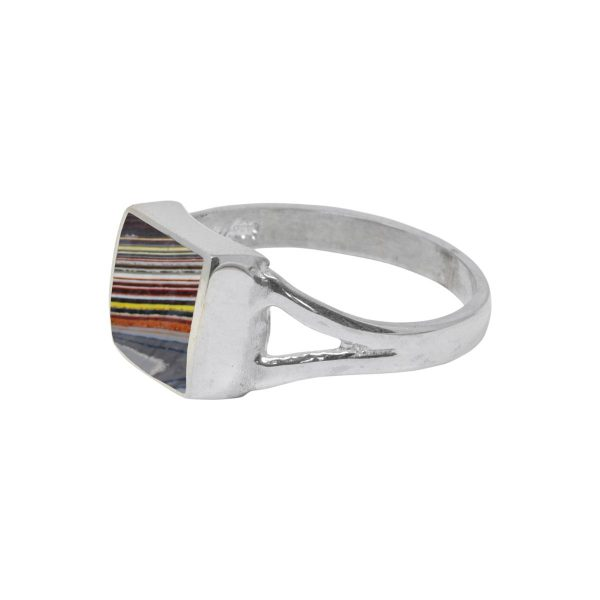 Silver Fordite Square Ring