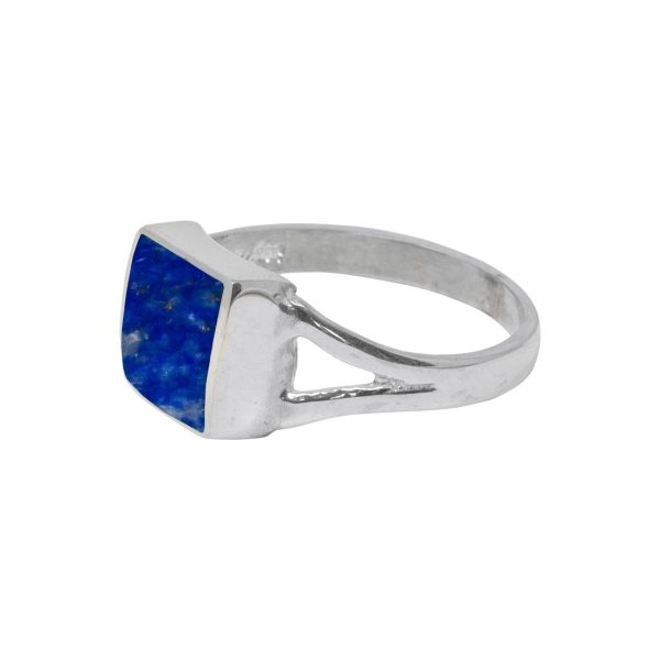 Silver Lapis Square Ring