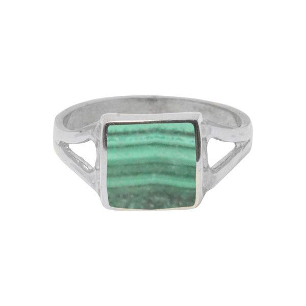 Silver Malachite Square Ring
