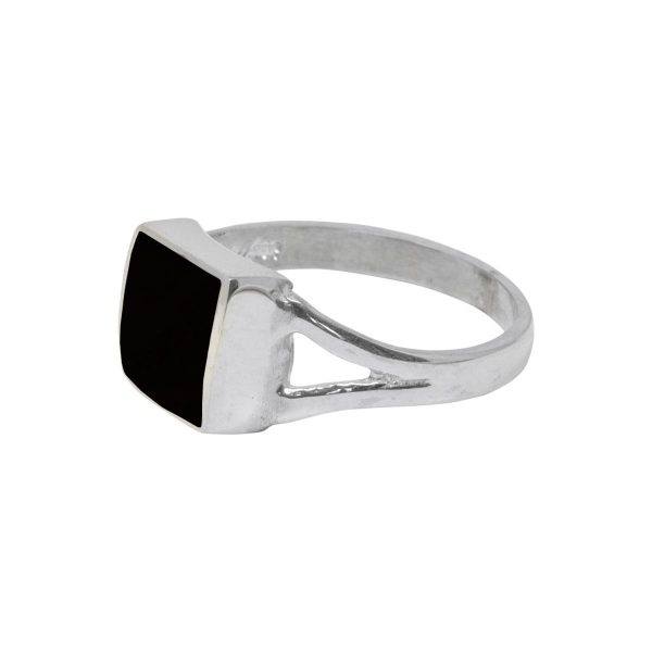Silver Whitby Jet Square Ring
